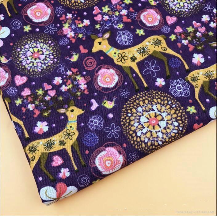 custom digital Milu deer printing linen cotton Christmas fabric 3