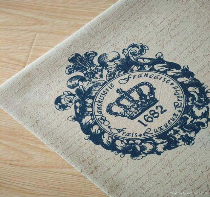 zakka crown royal printed cotton linen fabric manufacturer 2