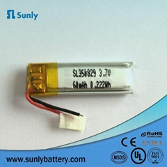Bluetooth speaker Li-ion polymer battery 350829 3.7v 60mah lipo battery