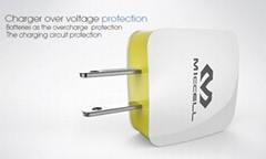 Veaqee Dual USB travel Charger EU home charger US wall mobile phone charger