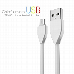 Veaqee datamicro usb cable colorful micro usb TPE +PC data cable usb data cable
