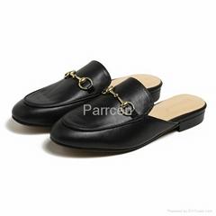 Parrcen Women's flat shoes genuine leather mule