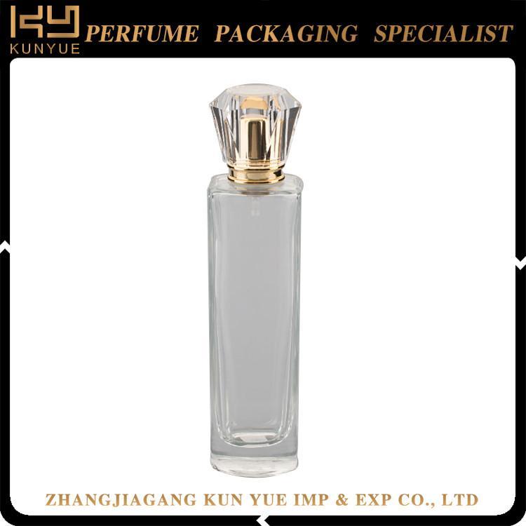 custom Design perfume glass bottle 100ml with sprayer pump and cap 1