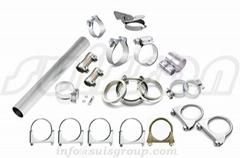 Automotive muffler clamps saddle clamps
