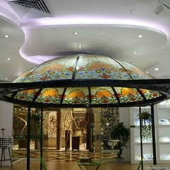 Huge garden gazebo stained glass building dome