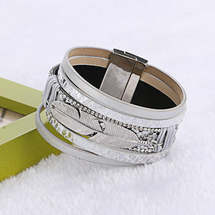 feather cortical layers personality ultra wide magnetic buckle bracelet bangles 3