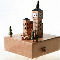 Chinese supplier happy birthday wooden portable bluetooth carousel music box