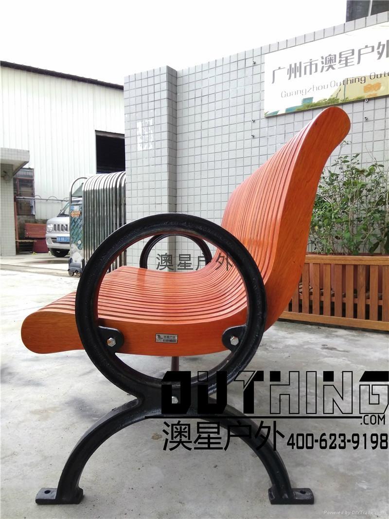 實心鑄鐵椅腳菠蘿格戶外公園椅 室外創意特色印茄木休閑坐凳 3