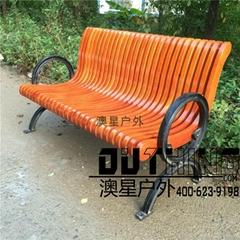 實心鑄鐵椅腳菠蘿格戶外公園椅 室外創意特色印茄木休閑坐凳