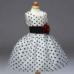 Black and white flower princess girl dress