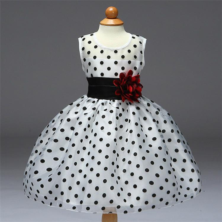 Black and white flower princess girl dress 2