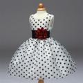 Black and white flower princess girl dress 3