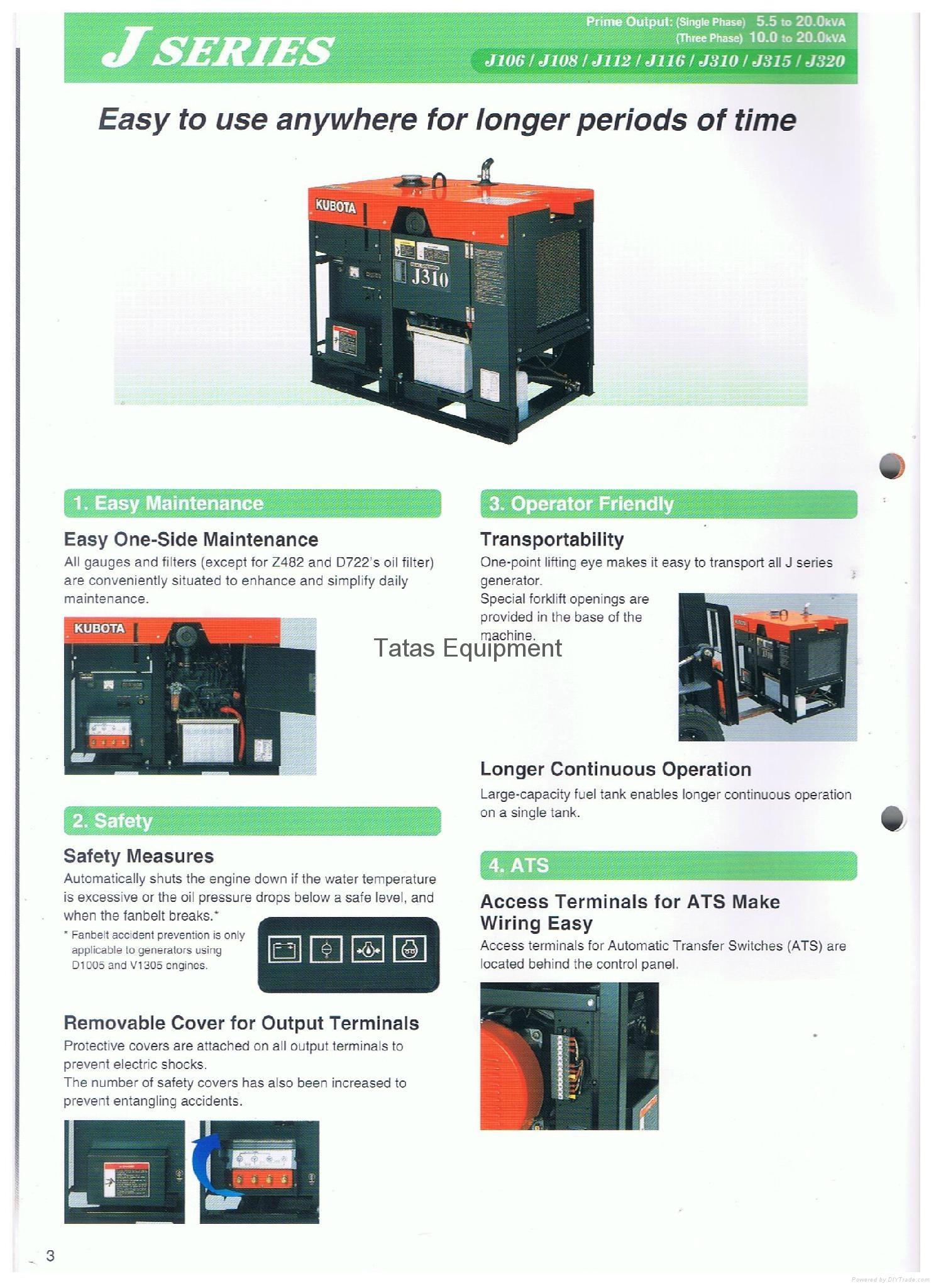 Kubota Diesel Generator J Series 2 Pole Single and Three Phase