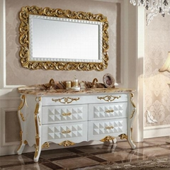 modern luxury golden stainless steel bathroom cabinet with double sink