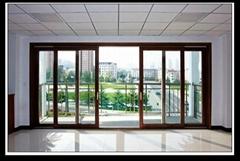 Guangzhou factory wooden grain color aluminum glass sliding door