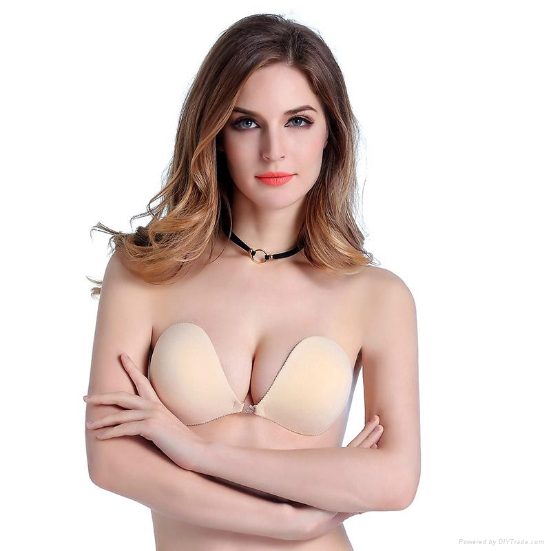solid color seamless strapless stick on women s invisible bra ... 451464b13