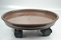 Plastic Flower pot tray with wheels/Wheeled flower pot tray