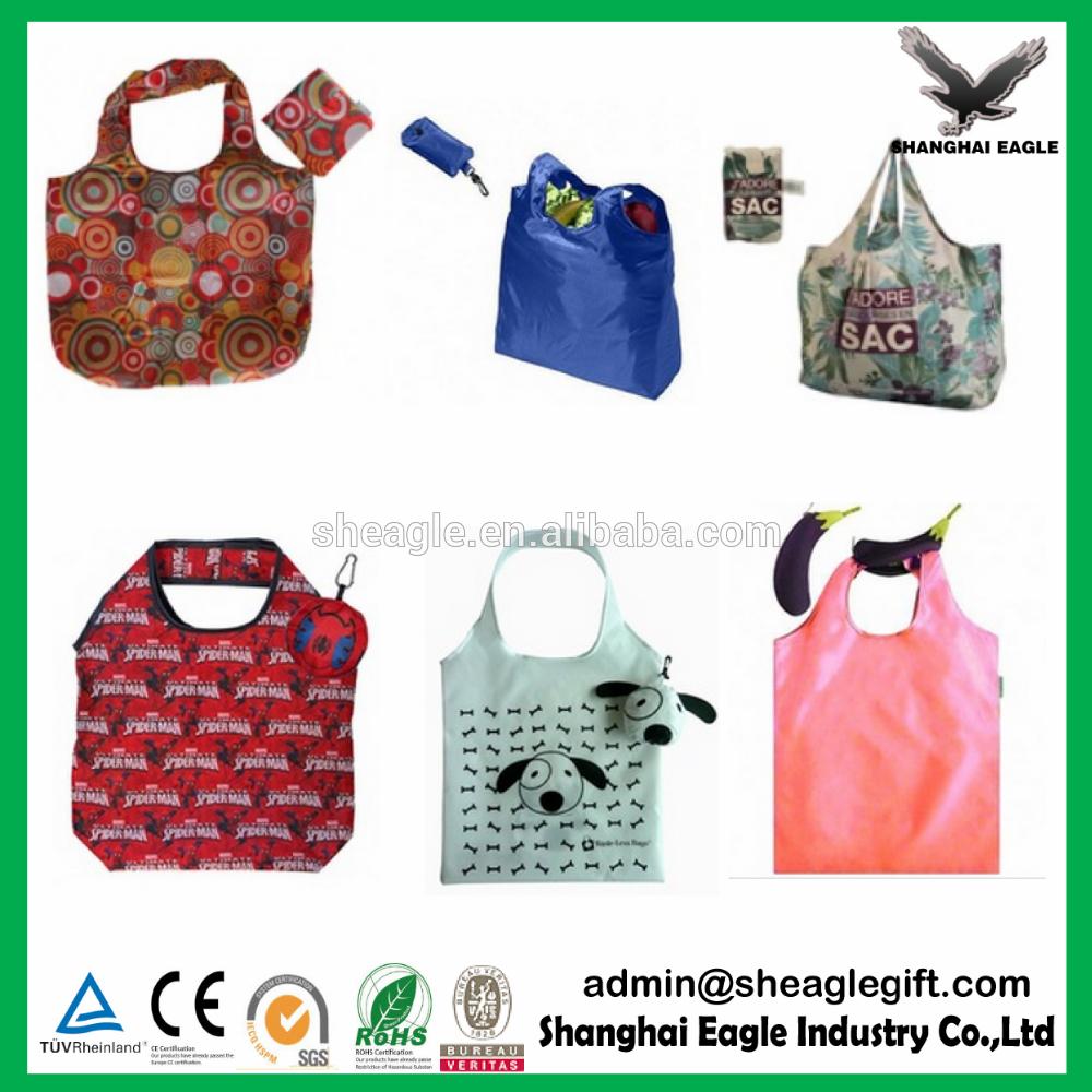 2017 OEM Fashion Cheap Recycled Nylon Polyester eco foldable shopping bag 4