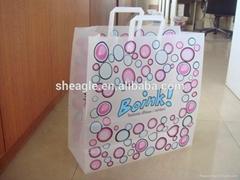 Customized handle printed plastic shopping bag