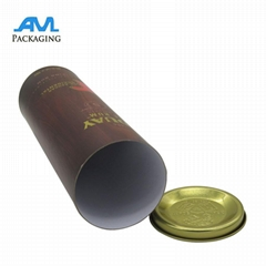 metal lids wholesale bespoke luxury Paper gift packaging tube for wine mailing s