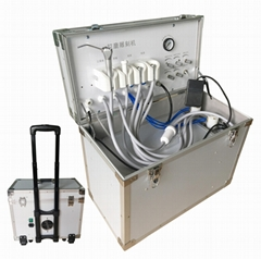Mobile Box Turbine Portabl Dental Unit with Air Compressor and Suction Unit