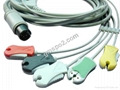 One piece ECG cable with 5-ld