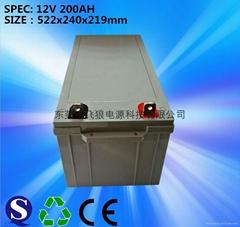 厂家直销12V200AH太阳能路灯蓄电池 免维护蓄电池