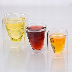 clear skull shaped double wall  whisky glass cup double wall glass cup