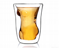 Sexy lady and muscle man shape wine double wall  glass cup whisky glass cup  3