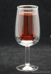 Clear double wall red wine glass cups wine  glass goblet