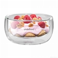 Clear double wall glass bowl soup bowl