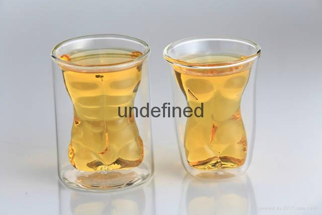 Sexy lady and muscle man shape wine double wall  glass cup whisky glass cup  1