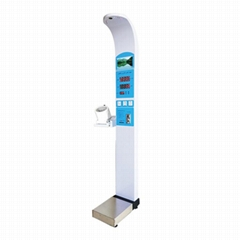 Coin operated bmi height weight body scale with Omron blood pressure meter