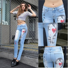 2017 New Design Printed Skinny Wholesale Jeans Slim Fit A008