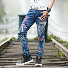 New Style High Quality Mens Fashion Slim Fit Denim Printed Jeans Y007