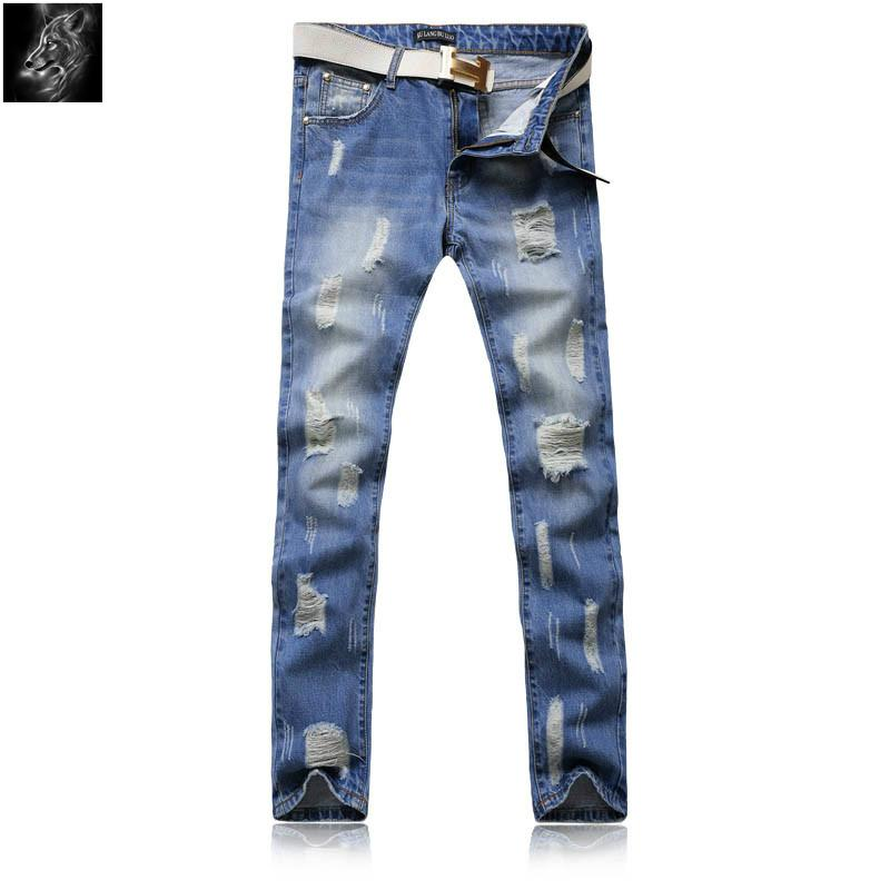 New Style Hip Hop Denim Fabric Man Damaged Jeans Ripped Pants Y062 1