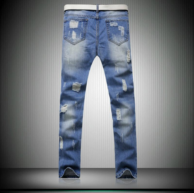 New Style Hip Hop Denim Fabric Man Damaged Jeans Ripped Pants Y062 2