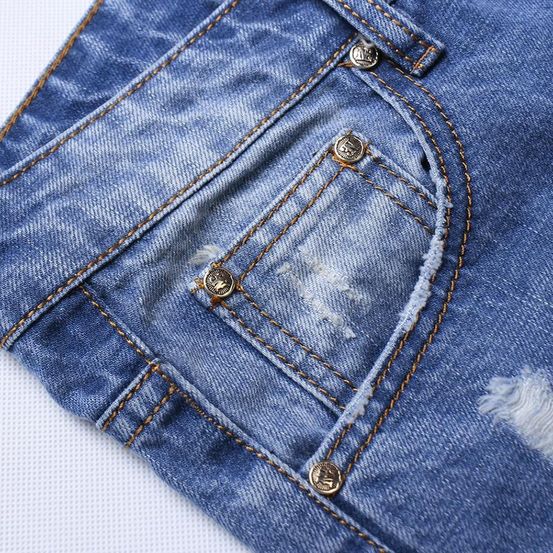 New Style Hip Hop Denim Fabric Man Damaged Jeans Ripped Pants Y062 3