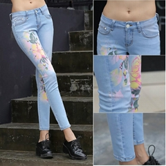 Orignal Design Brand Ladies Skinny Blue Denim Printed Jeans A005