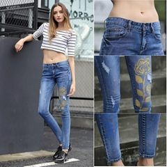 Brand Latest Design Trousers Women Tight Golden Rose Printed Jeans A006