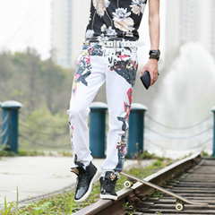 2017 Hottest Shenzhen Wholesale Printed White Bike Jeans Mens Y039