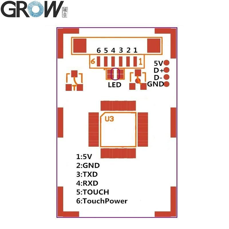 GROW R301T 小體積電容指紋採集識別模塊 帶手指觸摸感應輸出 3