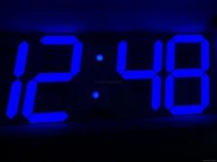 Led 3D digital wall Clock blue color