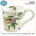 Hand Painted Green Olive Leaf Porcelain Big Drink Cup 1