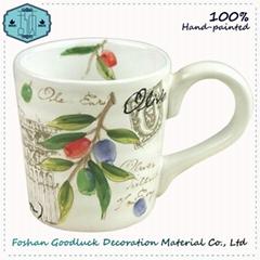 Hand Painted Green Olive Leaf Porcelain Big Drink Cup