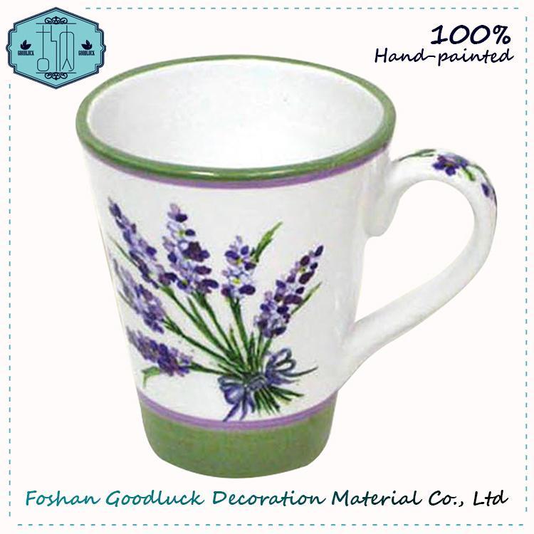 Hand Painted Green Olive Leaf Porcelain Big Drink Cup 4