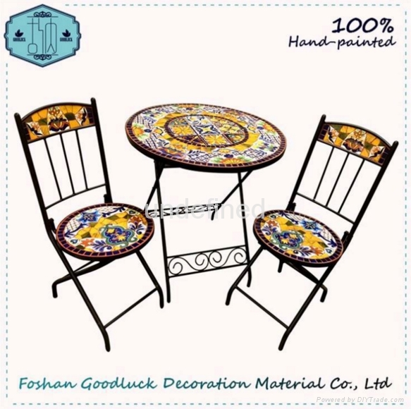 OEM Hand Painted Ceramic Mosaic Top Cast Iron Patio Outdoor Garden Set 1