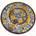 OEM Hand Painted Ceramic Mosaic Top Cast Iron Patio Outdoor Garden Set 3