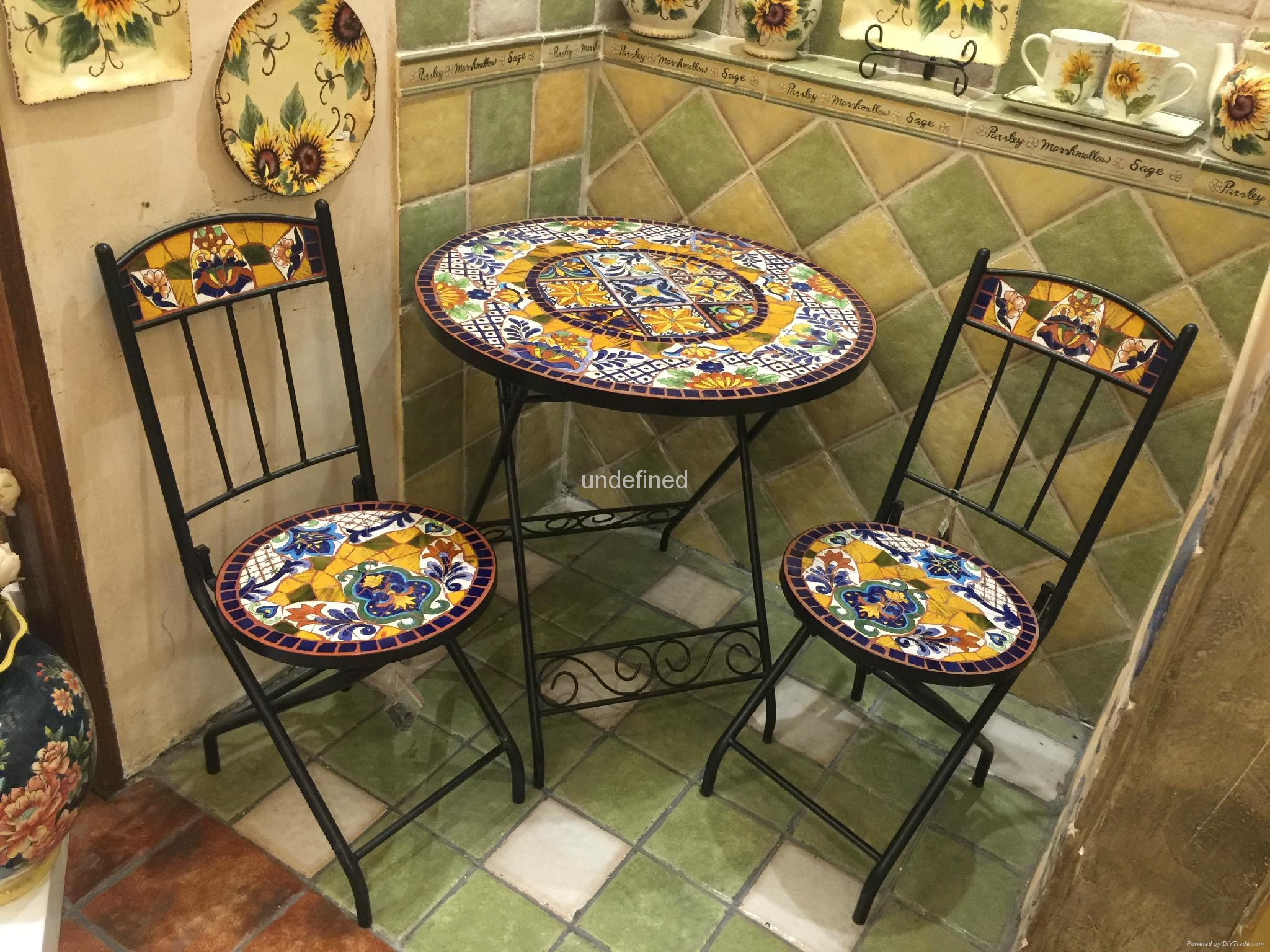 OEM Hand Painted Ceramic Mosaic Top Cast Iron Patio Outdoor Garden Set 5