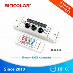 七彩跳變漸變旋鈕式混色RF無線射頻遙控RGB控制器